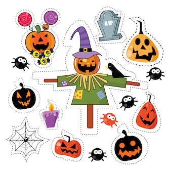Ensemble d'autocollants halloween