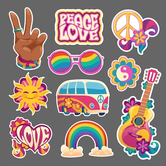Ensemble d'autocollants hippie