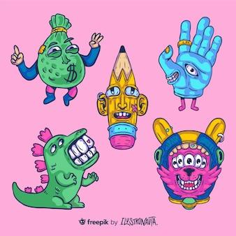 Ensemble d'autocollants d'illustration de créatures