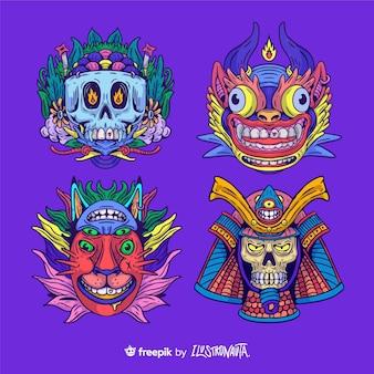 Ensemble D'autocollants D'illustration De Créatures Vecteur Premium
