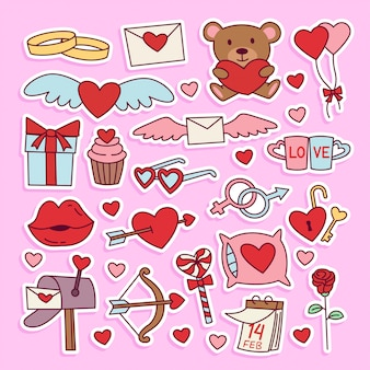 Ensemble d'autocollants d'illustration doodle saint valentin