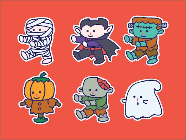 Ensemble d'autocollants d'illustration de personnage halloween mignon et kawaii