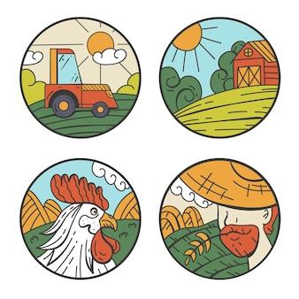 Ensemble d'autocollants d'insigne d'agriculture de champ de récolte de ferme ensemble isolé graphique de dessin animé plat de vecteur