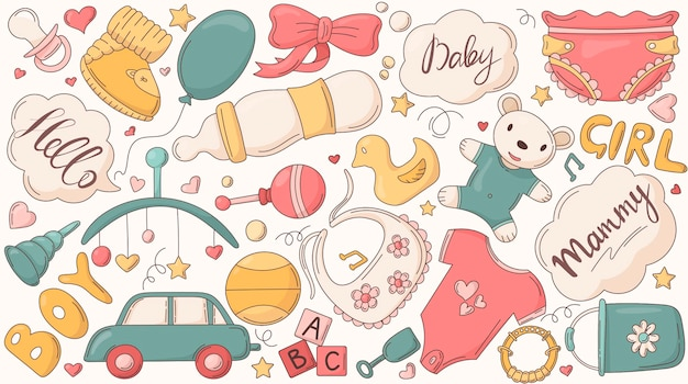 Ensemble d'autocollants isolés pour la décoration sur le thème de l'enfance et des choses pour les nouveau-nés