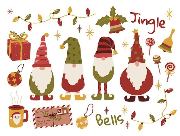 Ensemble d'autocollants joyeux noël gnomes elfes pour cartes de voeux et arrière-plans