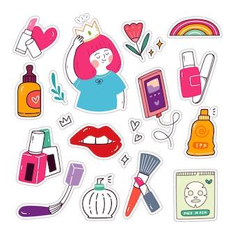 Ensemble d'autocollants kawaii girly collection de patchs de mode