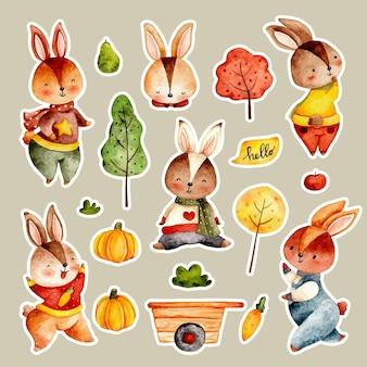 Ensemble d'autocollants de lapin d'automne dessinés à la main aquarelle