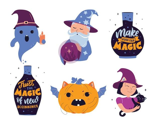 L'ensemble d'autocollants magiques avec texte la chauve-souris citrouille sorcière sorcière fantôme de dessin animé pour halloween
