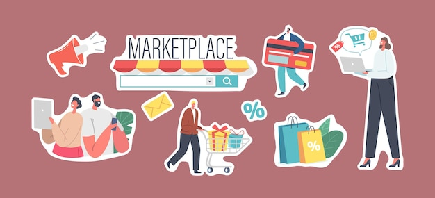 Ensemble d'autocollants marketplace retail business theme, achats en ligne, application de boutique numérique ou navigateur pc. les personnages utilisent le service de vente mobile. acheteurs achetant des marchandises. illustration vectorielle de gens de dessin animé