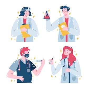 Ensemble d'autocollants médicaux illustrés