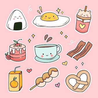Ensemble d'autocollants mignon petit déjeuner nourriture doodle