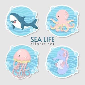Ensemble d'autocollants mignons animaux marins.