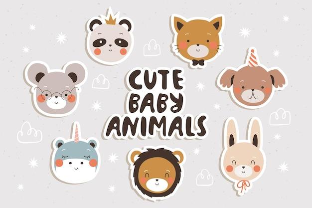 Ensemble d'autocollants mignons bébés animaux pour cgildrens