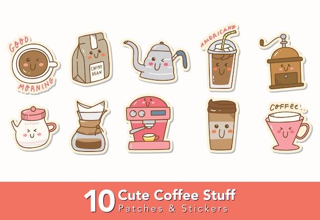 Ensemble d'autocollants mignons de café