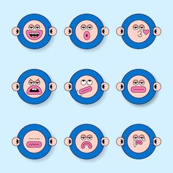 Ensemble d'autocollants de monstre de singe cool