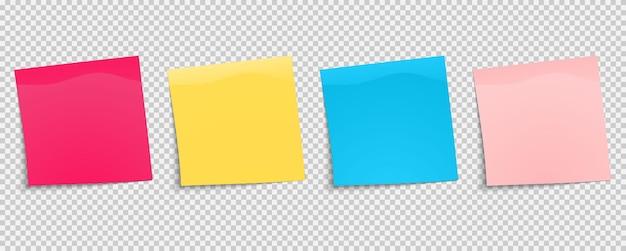 Ensemble d'autocollants multicolores. papier à notes collantes. collection de différentes feuilles de papiers de couleur avec coin recourbé. vue de face. prêt pour votre message