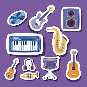 Ensemble d'autocollants de musique et d'instruments