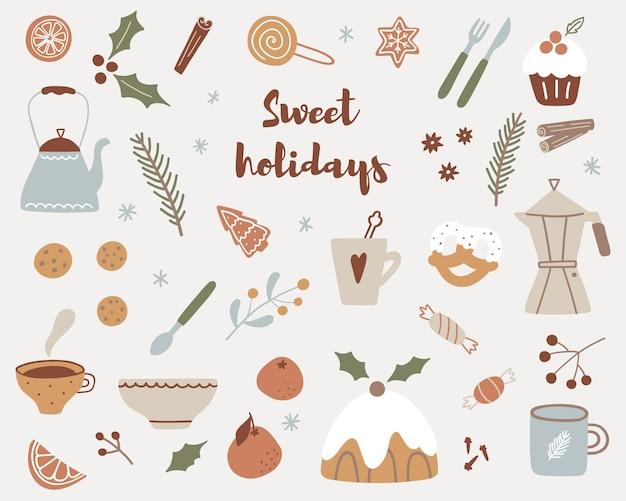 Ensemble d'autocollants de noël hygge. éléments de saison hiver dessinés à la main - coffret cadeau, bougie, tasses, bonbons, théière, biscuits. collection de noël de vecteur.