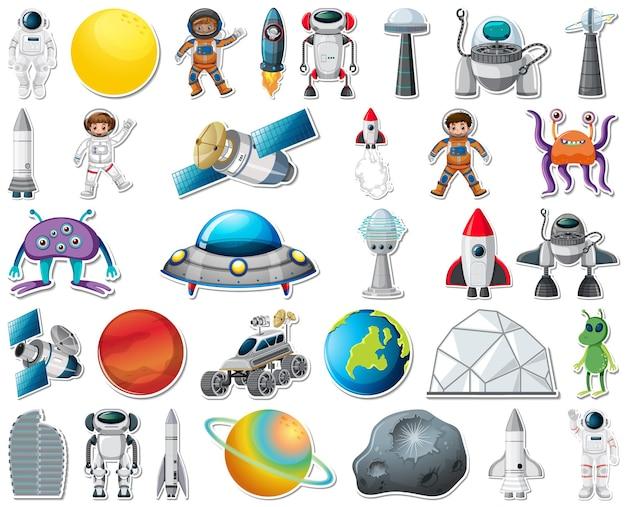 Ensemble d'autocollants avec des objets du système solaire isolés