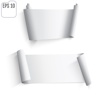 Ensemble d'autocollants en papier blanc sur fond blanc