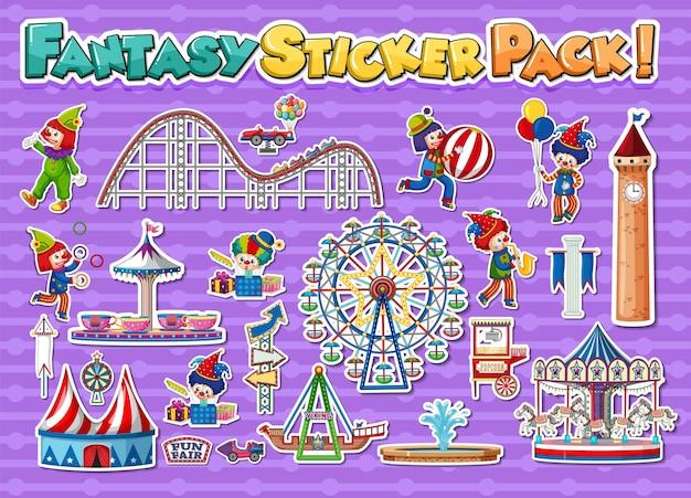 Ensemble d'autocollants avec parc d'attractions et objets de fête foraine