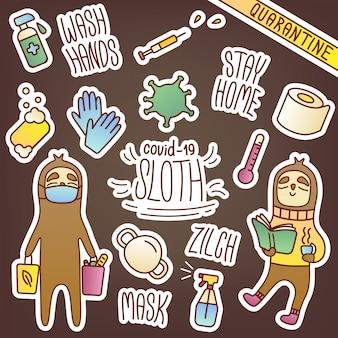 Ensemble d'autocollants avec un paresseux dans le thème covid-19. illustrations mignonnes d'articles d'hygiène et de protection contre les virus. voyage shopping et auto-isolement. lettrage restez à la maison et lavez-vous les mains.