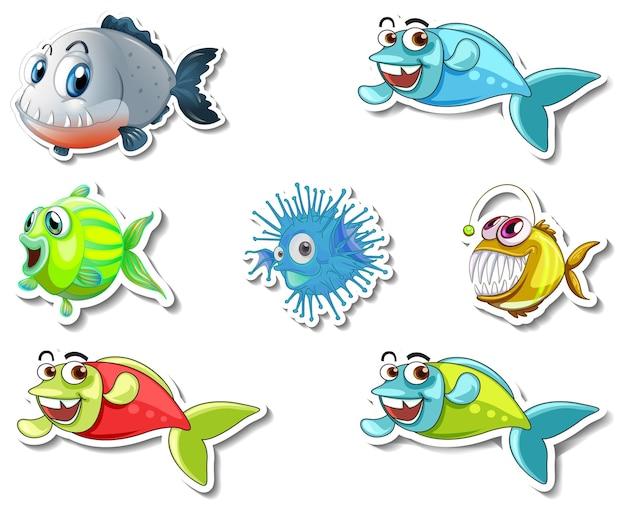 Ensemble d'autocollants avec le personnage de dessin animé d'animaux marins et de chiens