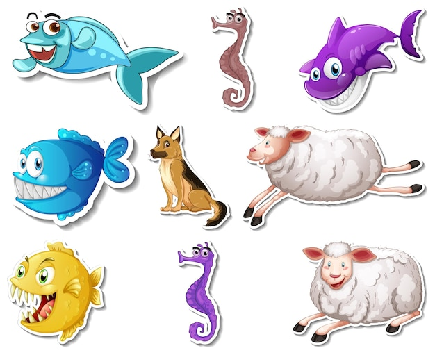 Ensemble d'autocollants avec des personnages de dessins animés d'animaux marins et de chiens