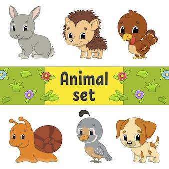 Ensemble d'autocollants avec des personnages de dessins animés mignons. clipart animalier.