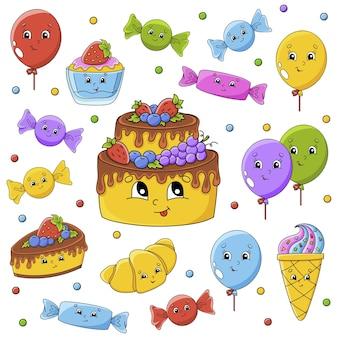 Ensemble d'autocollants avec des personnages de dessins animés mignons. thème de joyeux anniversaire.