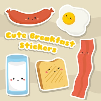 Ensemble d'autocollants de petit-déjeuner kawaii mignon