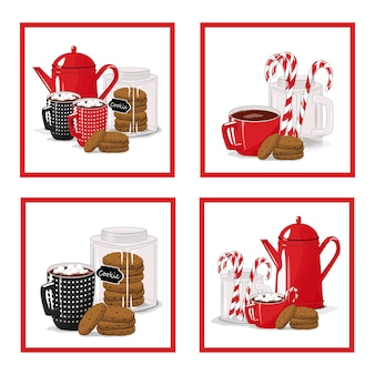 Ensemble d'autocollants. petit déjeuner. théière, tasse et biscuits sur fond blanc isolé.