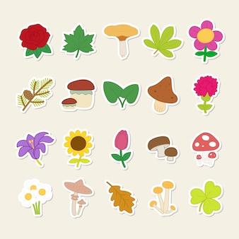 Ensemble d'autocollants de plantes et de champignons mignons.