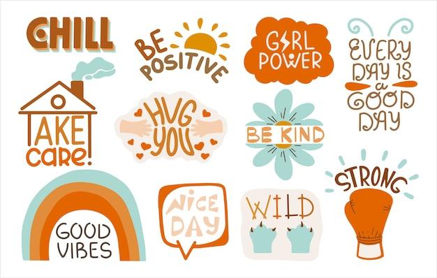 Ensemble d'autocollants positifs avec des inscriptions. modèle de lettrage décoré avec une image de dessin animé.