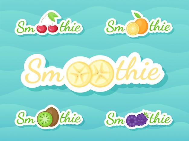 Ensemble d'autocollants pour boisson frappée aux smoothies aux fruits et aux baies
