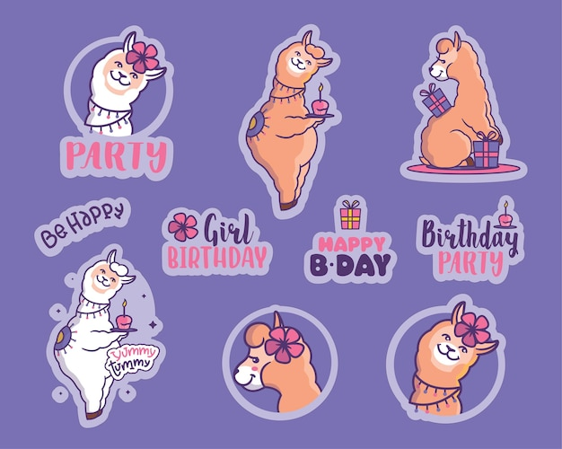 L'ensemble d'autocollants pour les fêtes de filles la collection de dessins animés de lama avec des citations pour joyeux anniversaire