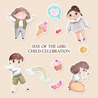 Ensemble d'autocollants pour la journée internationale de la petite fille dans un style aquarelle