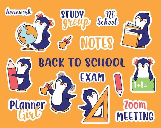 L'ensemble d'autocollants pour la rentrée scolaire collection dessinée à la main d'animaux et de citations scolaires les pingouins et la phrase