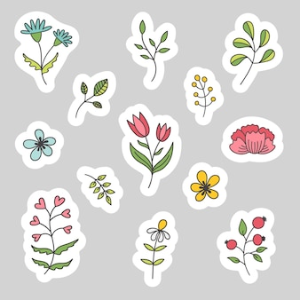 Ensemble D'autocollants De Printemps De Plantes Et De Fleurs. Autocollants En Papier Pâques, Vacances, Anniversaire. Vecteur Premium
