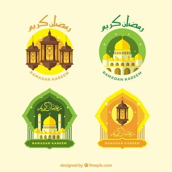 Ensemble d'autocollants ramadan en conception plate
