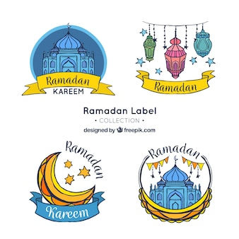 Ensemble autocollants ramadan dessinés à la main
