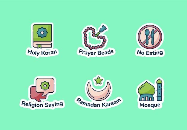 Ensemble d'autocollants ramadan