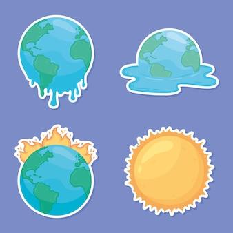 Ensemble d'autocollants sur le réchauffement climatique