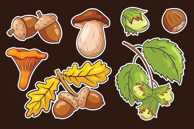 Ensemble d'autocollants de récolte d'automne. feuilles de chêne, glands, noisette, champignons. collection d'éléments décoratifs forestiers pour la conception et la décoration d'imprimés, d'invitations et de cartes de vœux. vecteur premium