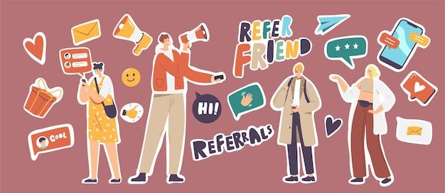 Ensemble d'autocollants référez-vous au thème d'un ami. avion en papier, enveloppe, pouce vers le haut et boîte-cadeau emballée avec smartphone, haut-parleur, bulles de dialogue sur les médias sociaux, marketing de réseau. illustration vectorielle de dessin animé