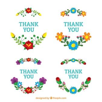 Ensemble d'autocollants de remerciements floraux
