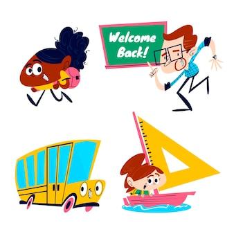 Ensemble d'autocollants de retour à l'école de dessin animé rétro