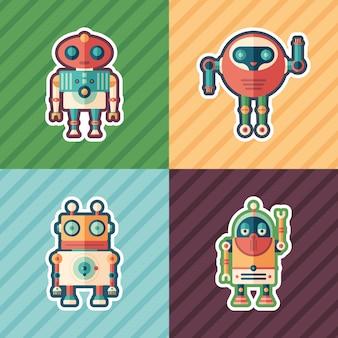 Ensemble d'autocollants de robots amicaux.