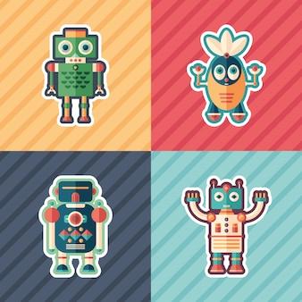 Ensemble d'autocollants de robots curieux