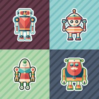 Ensemble d'autocollants de robots drôles.